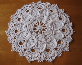 New hand-crocheted white doily doilie