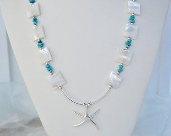 Starfish Necklace/Sterling Silver Starfish Beach Statement Necklace/Genuine Turquoise/Mother of Pearl-KONA/Unique Gift Jewelry