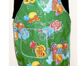Mexican Retro Style Oilcloth Apron with Pocket-Mexicana Green with Gingham Edging