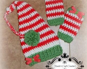 Crochet Elf prop/outfit Hat & Leg warmers Newborn
