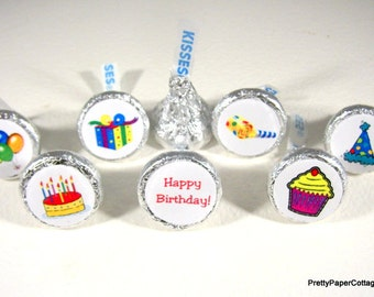 Happy Birthday Party Stickers, Hershey Kiss Stickers, Party Favors, Small, Envelope Seals, 108 Stickers