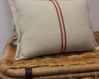 Grain sack cushion cover; old flour sack fabric cushion cover