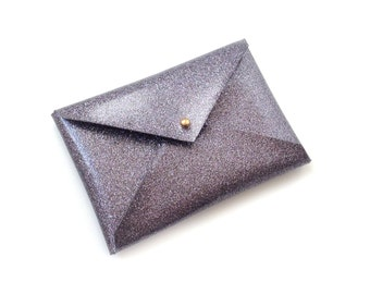 Gun Metal Grey Glitter Metallic Card Case, Business Card Case, Business Card Wallet, Gifts for Vegans