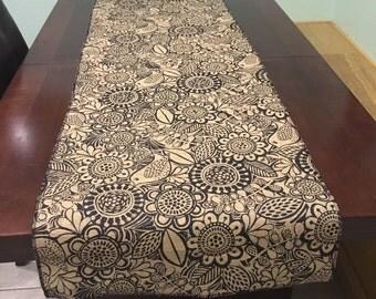 Burlap Bird and Flower print Table Runner