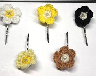 Crochet bobby pin Flower bobby pin Girls hair accessories Crochet hair pin Everyday women hair accessories Flower hair pin Women hair pin