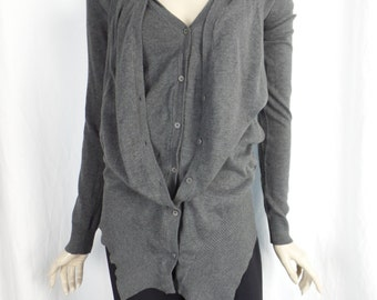 Minimalist deconstructed grey cotton cardigan with vest layer/racer back detail: size Small