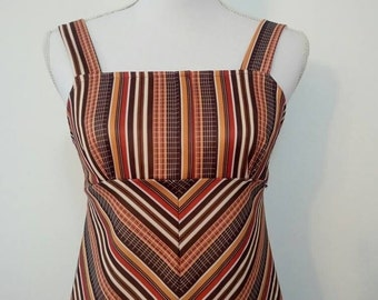 Vintage 70's Chevron stripe dress earth toned empire waist sun dress hippie mini dress