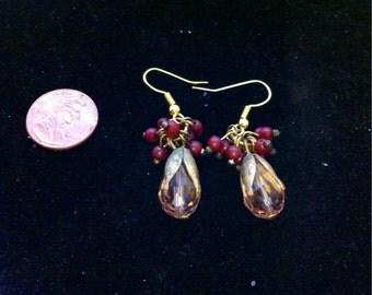 Purple Beaded Flower Earrings, Beaded Earrings, Vintage Style Purple Earrings, Purple Jewelry, Flower Earrings, Vintage Style Jewelry