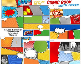 Comic Book Digital Papers, Scrapbooking, Digital Scrapbooking, INSTANT DOWNLOAD, Super Hero comic strip kids 12x12 PU