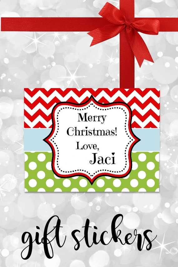 Christmas Stickers, Gift Labels, Chevron Stickers, Gift tags, Personalized Stickers, Red and Green, Custom Labels, Personalized Labels