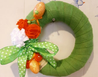 Burlap Green Easter wreath