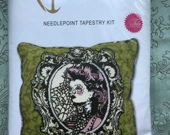 Nightshade Cameo Absinthe Needlepoint Tapestry Kit by Tula Pink for Anchor Living