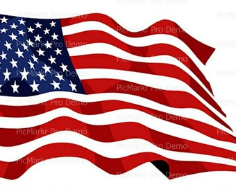 American Waving Flag Birthday - Edible Cake and Cupcake Topper For Birthday's and Parties! - D20565