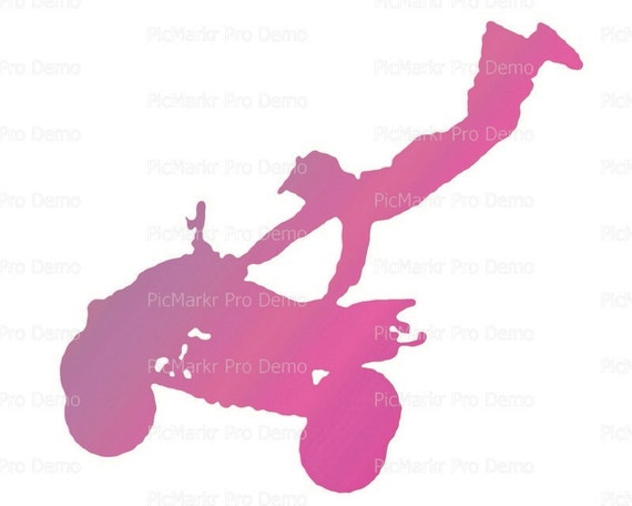 Motocross Pink ATV Birthday - Edible Cake and Cupcake Topper For Birthday's and Parties! - D21770