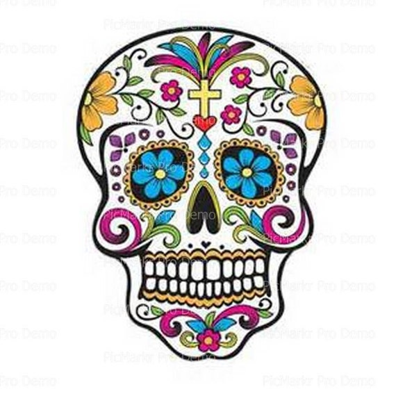 Halloween Sugar Skull - Edible Cake and Cupcake Topper For Birthday's and Parties! - D20680