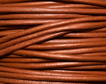 Dusty Brown / Metallic / 2mm Leather Cord / leather by the yard / round leather cord / genuine leather / necklace cord / bracelet cord