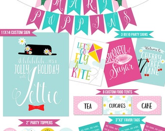 Mary Poppins Party Coordinating Printables | Mary Poppins Banner | Mary Poppins Favor Tags | Mary Poppins Shower Printables | DIGITAL FILES
