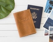 Personalized Wanderlust Leather Passport Cover   The Earhart