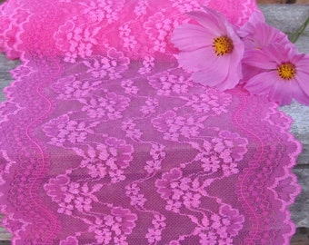 """7"""" Wide Stretch Elastic Lace by Yard; Hot Pink Lace Yardage; Bright Pink Headband Lace, Floral Romantic Lingerie Lace; Wide Elastic Lace"""