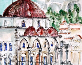 Greek. Monastiraki,  flea market.  Athens.  Original watercolor painting.
