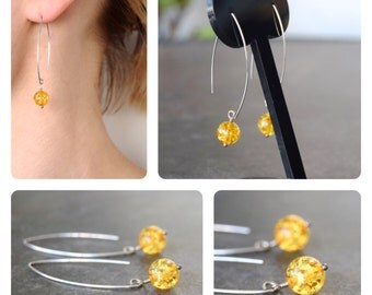 925 silver earrings with amber beads