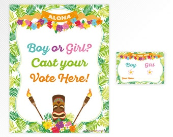 Hawaiian luau Gender Reveal Voting Cards - tropical baby shower printable game - INSTANT DOWNLOAD