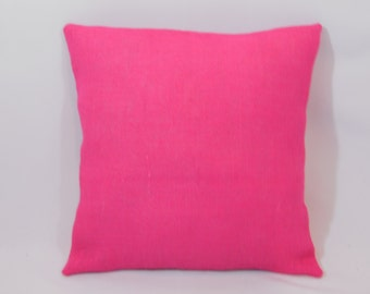 Custom made hot pink/fuscia burlap pillow cover/sham. Multiple sizes to choose from.