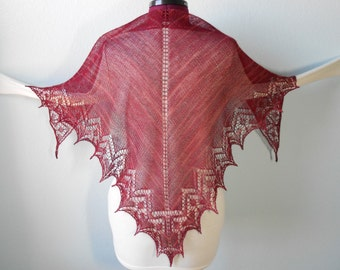Hand Knitted Lace Shawl with Hearts