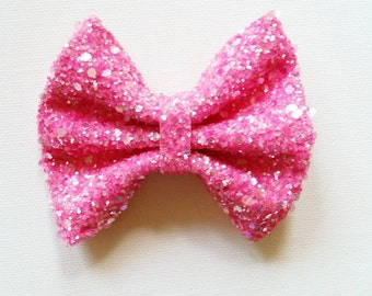Cotton Candy Pink Glitter Bow