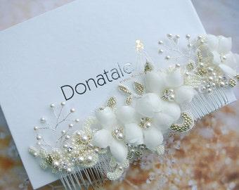 PATRICIA - Wedding Hair Comb Bridal Hair Comb Ivory Champagne Bridal Hair Flower Lace Headpiece Wedding Headpiece UK