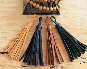 Leather Tassel 1 pieces - Color: Black,Brown,Navy Blue,Dark green,Mustard,Beige