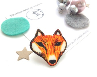 Fox Shrink Plastic Jewellery, Cute Woodland Lapel Pin, Handmade Illustrated Shrinky Dink, Fox Gift, Animal Brooch, Forest Jewellery for Her.