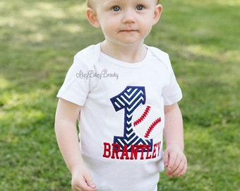 First birthday embroidered shirt bodysuit baseball one 1 boys personalized custom name