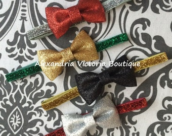 Ready To Ship~GLITTER BOW HEADBAND~You Pick One, Pick The Bow and Pick the Elastic Color, Holiday Headband, Infant Headband, Girls Headband.