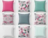 """Throw Pillow Covers, Pink Blue Teal Mix and Match, 16"""" 18"""" 20"""" 26"""" Lumbar Pillow 14""""x20"""" Stripes, Quatrefoil Decorative Pillows"""