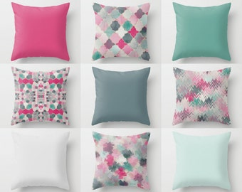 "Throw Pillow Covers, Pink Blue Teal Mix and Match, 16"" 18"" 20"" 26"" Lumbar Pillow 14""x20"" Stripes, Quatrefoil Decorative Pillows"