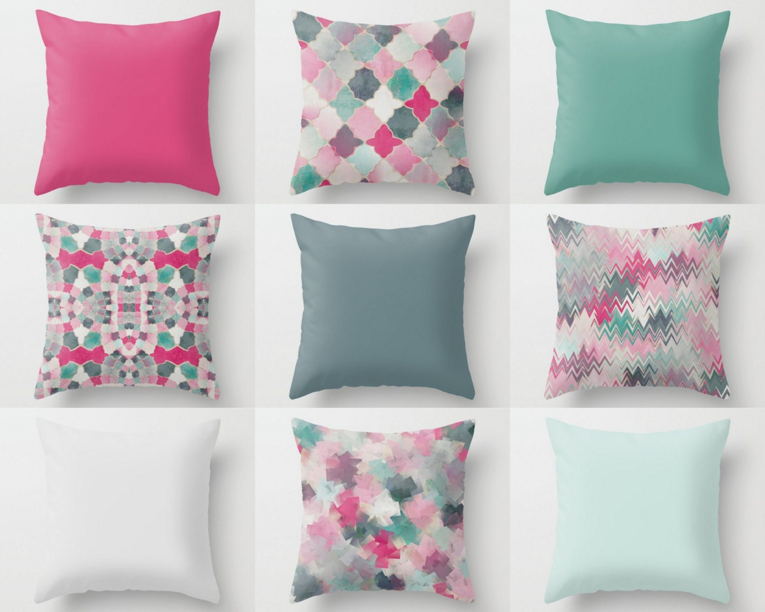 Throw Pillow Covers Pink Blue Teal Mix And Match 16