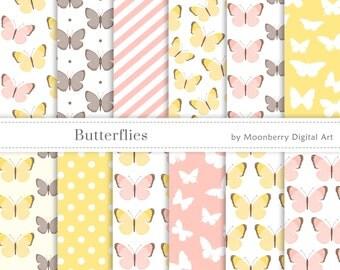 Butterfly Digital Paper, Butterflies Papers, Wedding Digital Papers, Baby Shower, Scrapbook Paper, Birthday, Baby Shower Digital Paper