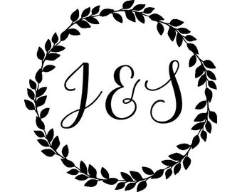 "Round Wreath Initials Stamp, personalized stamp, floral wreath stamp, round laurel wreath, calligraphy initials, 1.8""x1.8"" (cts146)"