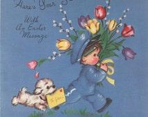 Used 1947 Rust Craft Artists Guild Easter Card, original image painted by Marjorie Cooper, Secret Pal, good shape