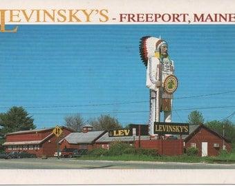 Levinsky's, Used Postcard, Freeport, Maine and 40 foot Indian, fair shape