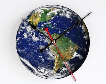 Earth from Space Wall Clock Colorful Wall Decor Home Decor Western Hemisphere Rare Gift Handmade Clock Gift for Hostess Houseware Geometric