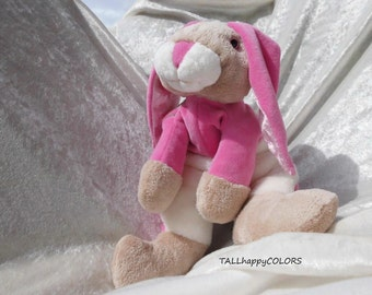PINK BUNNY for Girls Baby shower soft toy Memory Rabbit remembrance bunny baby clothing stuffed animal bunny jumper handmade READY to Ship