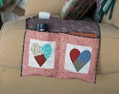 Arm Chair Caddy - Applique Hearts with Pink Floral Print Background