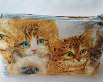 Kitty, cats cosmetic bag,  cat make-up bag, make-up case,  zipper pouch, kitty bags, cats bags