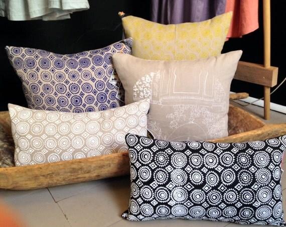 Linen Cushion, Mexicala Moroccan design screen-print limited edition