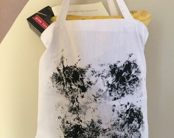 Vegan Canvas Tote Bag Black White