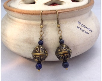 Lapis Lazuli Earrings Lapis Lazuli Dangly Earrings Handmade Lapis Lazuli Genuine Gemstone Earrings Blue Earrings Blue Dangly Earrings
