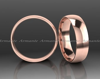Wedding Band 5.00mm Wide Hand Made 14k Solid Rose Gold Wedding Ring, His Or Hers Wedding Band.