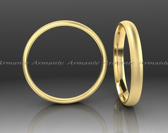 Yellow Gold Wedding Band Wedding Ring, 14k Yellow Gold Womans Wedding Band 2.50mm Wide